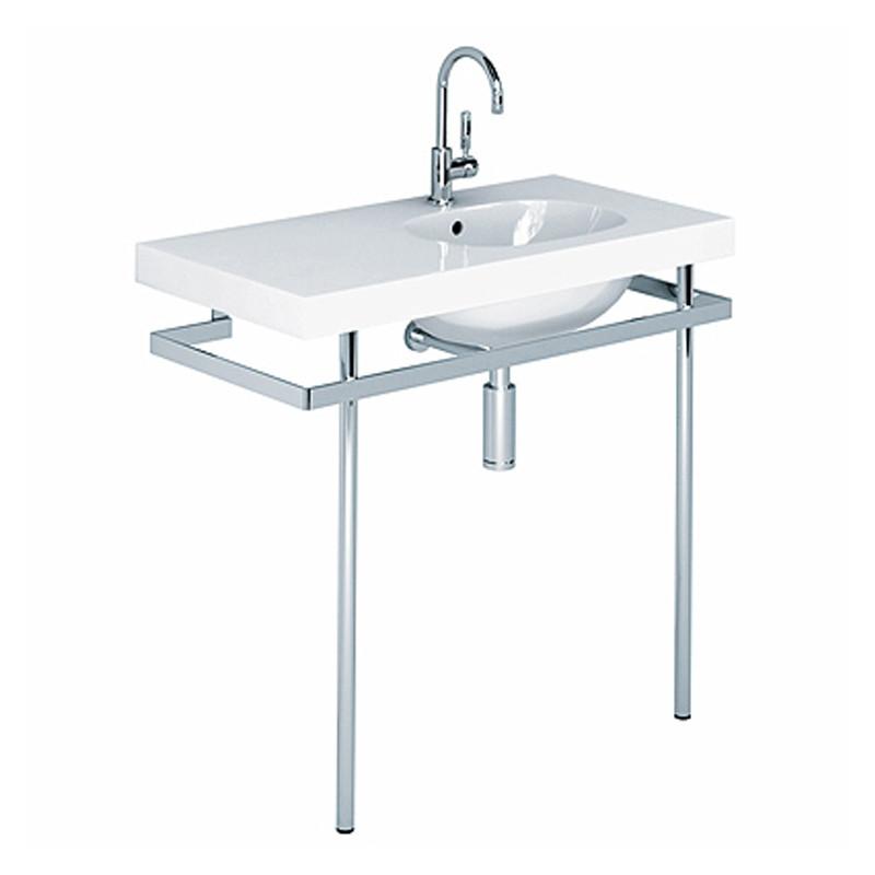 500 lavabo rettangolare asimmetrico 100 cm sinistro bianco for Lavandini sospesi