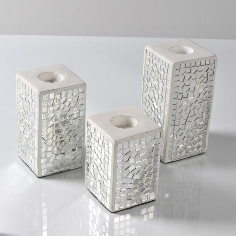 Porta Candele Quadrato In Mosaico Di Vetro Specchio